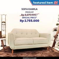 Sofa Kamila dirancang secara khusus dengan perpaduan desain yang elegan dan material berkualitas untuk menyempurnakan ruangan dan menghadirkan kenyamanan di tengah-tengah keluarga Anda. Jika Anda sedang mencari sofa untuk memaksimalkan ruangan Anda, Sofa Kamila dapat menjadi pilihan yang tepat.Miliki Sofa Kamila Rp. 6.375.000 dapatkan *Special Price Rp 2.755.000 tersedia SET 2-1-1 / 3-2-1 / 3-1-1 *Syarat dan ketentuan berlaku. Tidak bisa digabung dengan promo lainnya.Temukan beragam model sofa lainnya di www.chandrakarya.com. Tersedia beragam pilihan sesuai gaya interior hunian Anda seperti modern, minimalis, scandinavian dan beragam pilihan warna custom.Segera hubungi sales kami melalui 0898 1801 800 - 0899 9921 800 – 021 4205550 - 021 4212323 . Tim sales kami siap membantu memberikan penawaran termurah untuk Anda.#chandrakaryaofficial #chandrakarya #chandrakaryafurniture #ckproduk #belidichandrakarya #chandrakaryapramuka