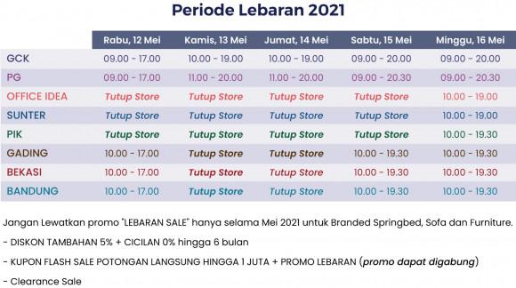 Jam Operasional Gerai Chandra Karya - Periode Lebaran 2021